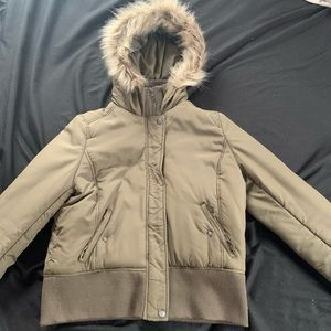 BP army green winter coat with faux fur hood